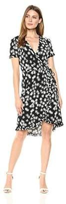 London Times Women's Short Sleeve Faux Wrap Dress