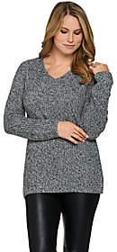 Lisa Rinna Collection V-Neck Long SleeveSweater