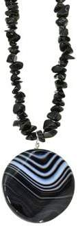 Lord & Taylor Sterling Silver and Onyx Pendant Chip Necklace
