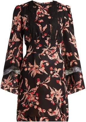 DUNDAS Cherry-print silk georgette mini dress