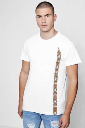 boohoo Crew Pocket T-Shirt With Aztec Print