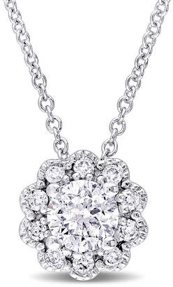 Laura Ashley FINE JEWELRY Laura Asley Womens 1/2 CT. T.W. Genuine White Diamond 10K Gold Pendant Necklace
