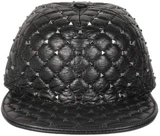 f63d40225f2 Valentino Spike Quilted Leather Hat