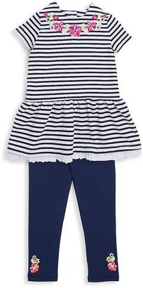 Little Me Little Girl's Two-Piece Striped Top and Embroidered Leggings Set