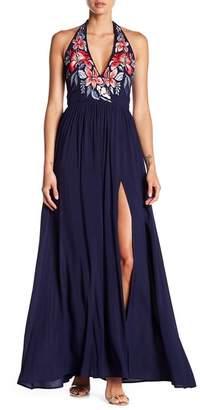 N. Tassels Lace Surplice Halter Neck Maxi Dress