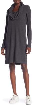 Joan Vass Heathered Cowl Neck Dress