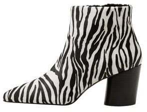 MANGO Zebra leather ankle boots