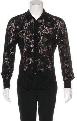 CNC Costume National Lace Button-Up Shirt