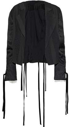 Ann Demeulemeester Carlyle Lace-Trimmed Satin-Paneled Woven Blazer
