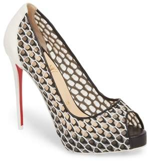 Christian Louboutin Very Lace Peep Toe Pump