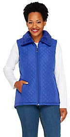 Denim & Co. Zip Front Quilted Vest with FauxSherpa Lining