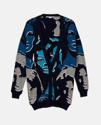 Stella McCartney faces print v-neck cardigan