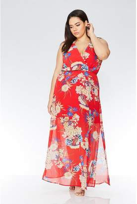 Quiz Curve Red Floral Oriental Print Dress