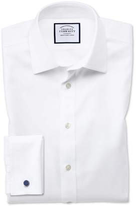 Charles Tyrwhitt Classic Fit Non-Iron Step Weave White Cotton Dress Shirt Single Cuff Size 17.5/34