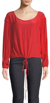 Ramy Brook Liam Scoop-Neck Long-Sleeve Silk Top with Drawstring Hem