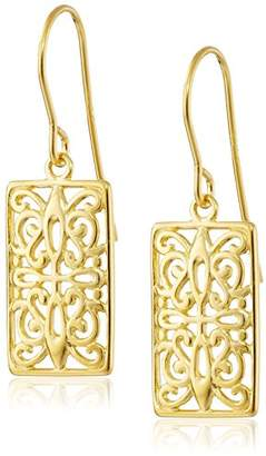 Celtic 18k Gold Plated Sterling Silver Rectangle Drop Earrings