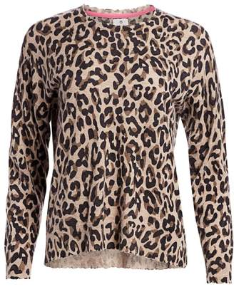 Sundry Leopard Print Crew Sweater