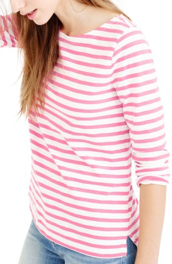 Women's J.crew Stripe Boat Neck Tee