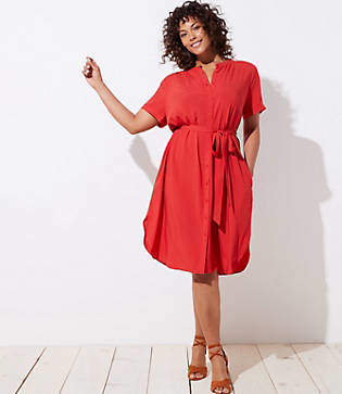 LOFT Plus Tie Waist Short Sleeve Shirtdress