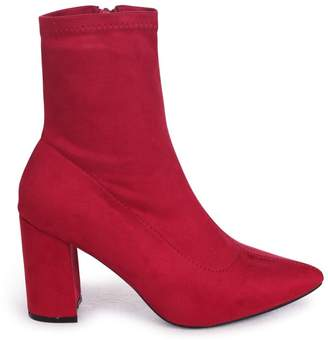 Linzi Lucile Red Suede Heeled Ankle Boot With Pointed Toe