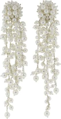 Oscar de la Renta Pearl Drop Cluster Clip Earrings