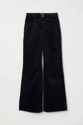 H&M Wide-leg Corduroy Pants - Blue