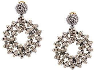 Oscar de la Renta crystal beaded hoop earrings