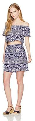 My Michelle Women's Printed Two Piece Set with Off The Shoulder Top and Skirt