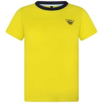 Armani Junior Armani JuniorBoys Yellow Cotton Branded Top