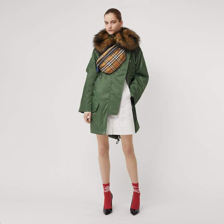 Faux Fur Trim Parka with Detachable Warmer
