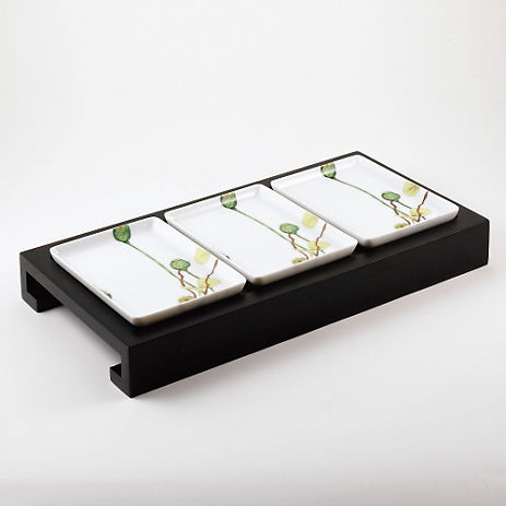 Medard De Noblat Ikebana Appetizer Tray with Three Dishes