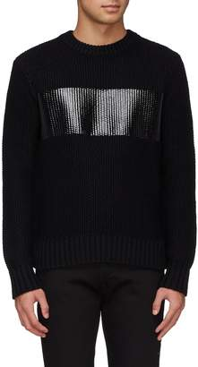 Helmut Lang Coated panel wool chunky knit sweater