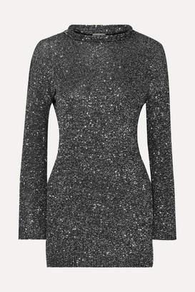 Saint Laurent Sequined Stretch-knit Mini Dress - Black