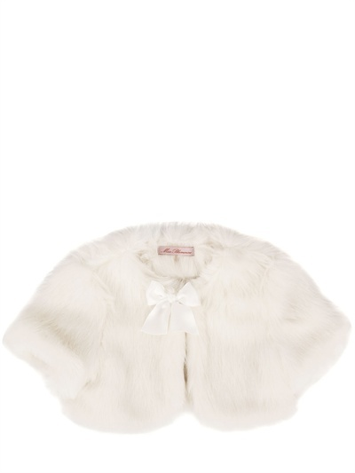 Miss Blumarine Eco Fur Coat With Bow