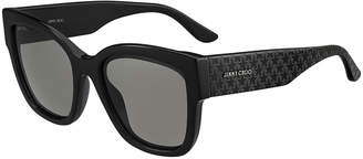 Jimmy Choo Roxies Square Star-Arms Acetate Sunglasses