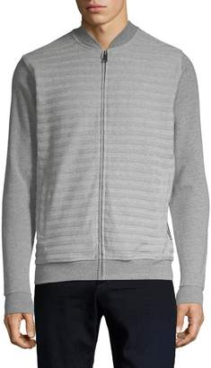 Ben Sherman Horizontal Textured Stripe Zip-Up Sweater