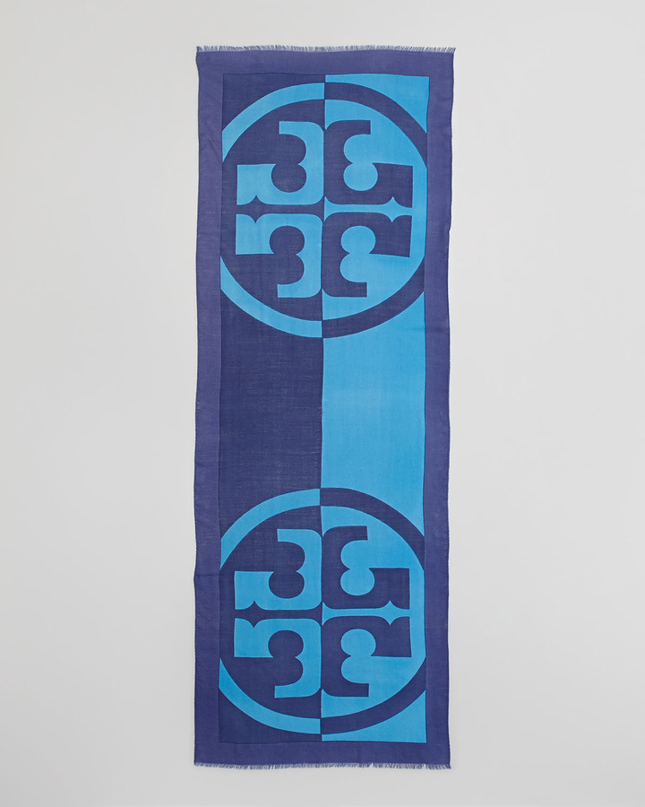 Tory Burch Reva T-Logo Scarf, Adriatic Blue