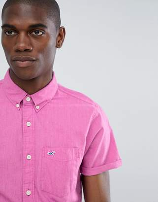 Hollister Short Sleeve Poplin Solid Shirt Slim Fit Button Down Seagull Logo In Pink