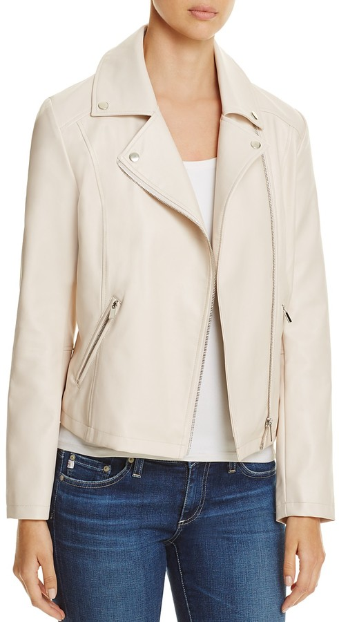 Cream Leather Jacket - ShopStyle Australia
