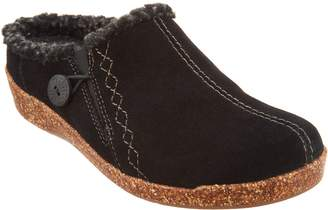 Earth Origins Suede Slip-On Clogs with Faux Fur Trim - Johanna