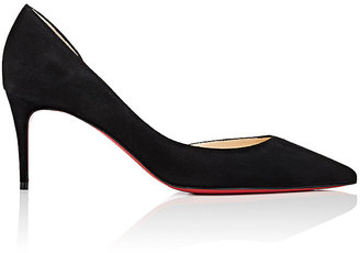 Christian Louboutin Women's Iriza Suede Half D'Orsay Pumps $675 thestylecure.com