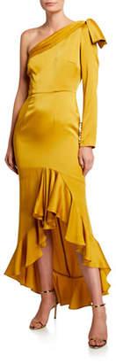 Flor et.al Mac Crepe One-Shoulder High-Low Ruffle Cocktail Dress