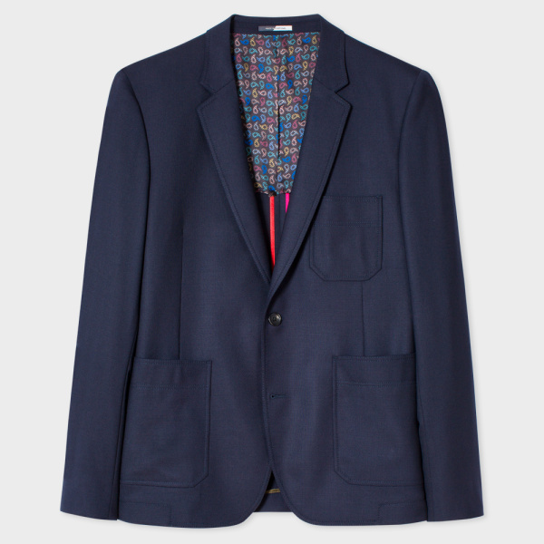 Paul Smith Men's Mid-Fit Navy Wool-Hopsack Buggy Lined Blazer