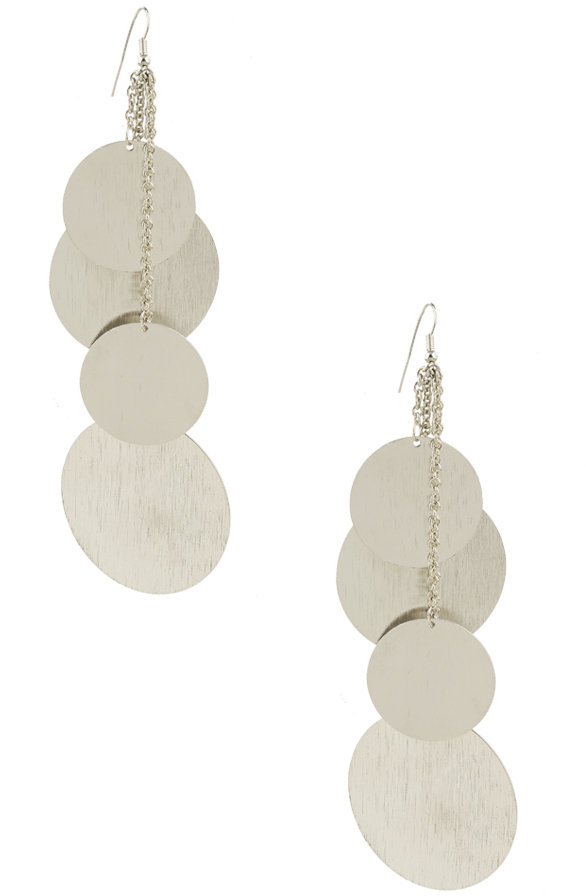 Brushed Disc Dangle Earrings
