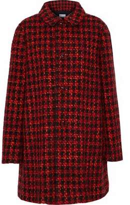 RED Valentino Gathered Houndstooth Tweed Coat