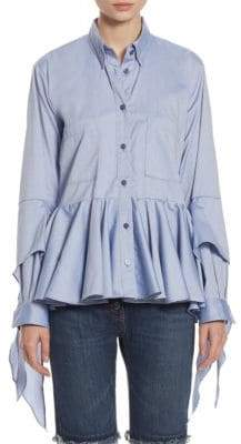 Each X Other Ruffled Cotton Poplin Shirt
