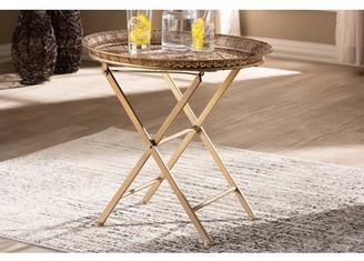 Baxton Studio Sabah Traditional Moroccan Inspired Matte Antique Gold Finished Metal Foldable Accent Tray Table