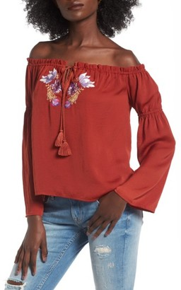 Love, Fire Women's Embroidered Off The Shoulder Top