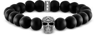 Thomas Sabo Blackened 925 Sterling Silver and Matt Obsidian Beads Maori Skull Power Bracelet