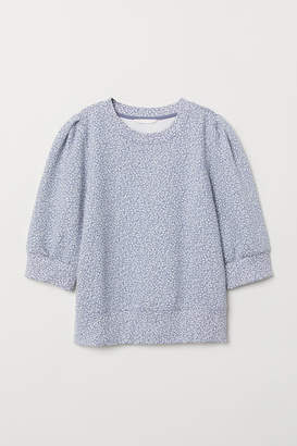 H&M Puff-sleeved Sweatshirt - Blue